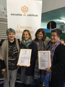 Ganadores del concurso, representantes de los colegios La Purísima (Zaragoza) y Nuestra Señora del Buen Consejo (Avilés)