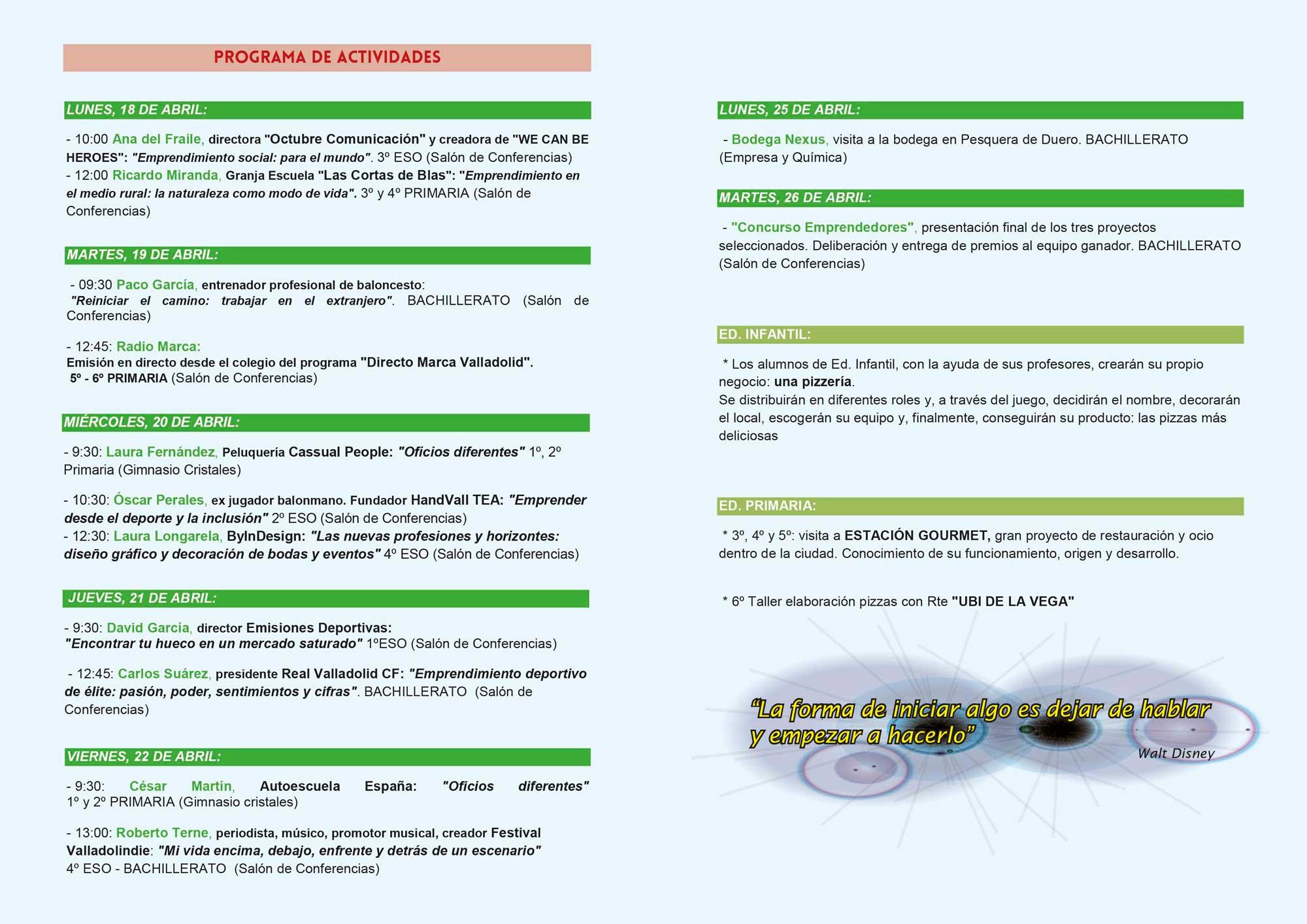 Programa de las III Jornadas de Emprendimiento del Colegio Agustinas (Valladolid)