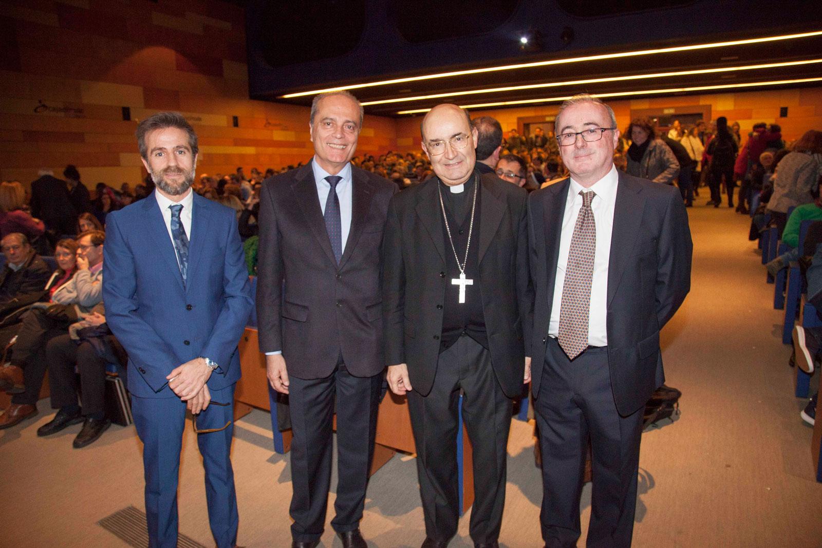 Leandro Roldán, Javier Cortés, Fidel Herráez y Javier Pérez en el primer Encuentro de Educadores de la educación concertada católica.
