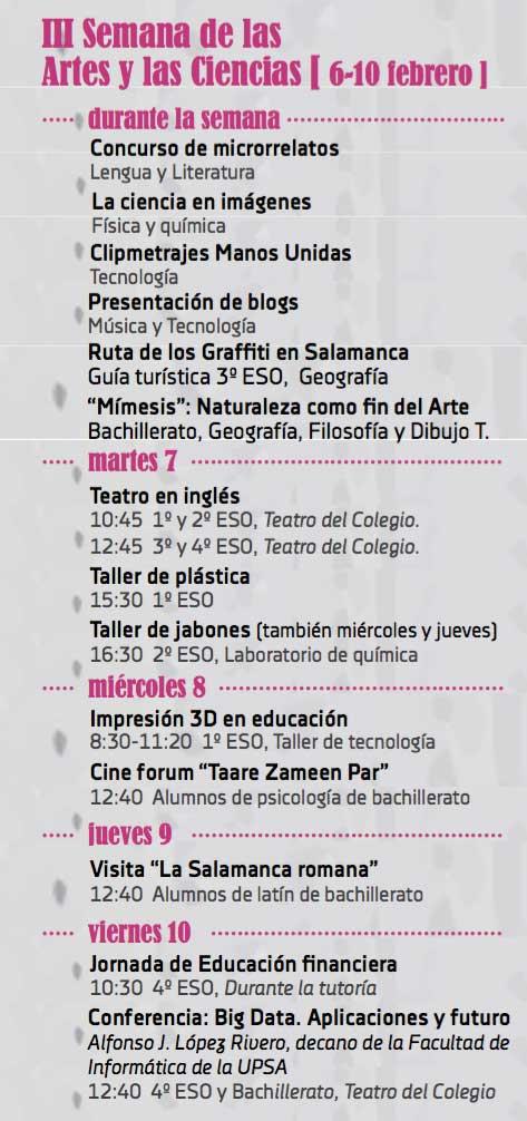 Programa Semana Artes y Ciencias del Colegio María Auxiliadora (Salamanca)