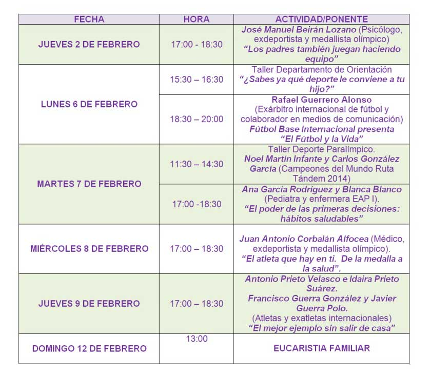 Programa Semana de la Familia 2017 del Colegio Claret (Segovia)