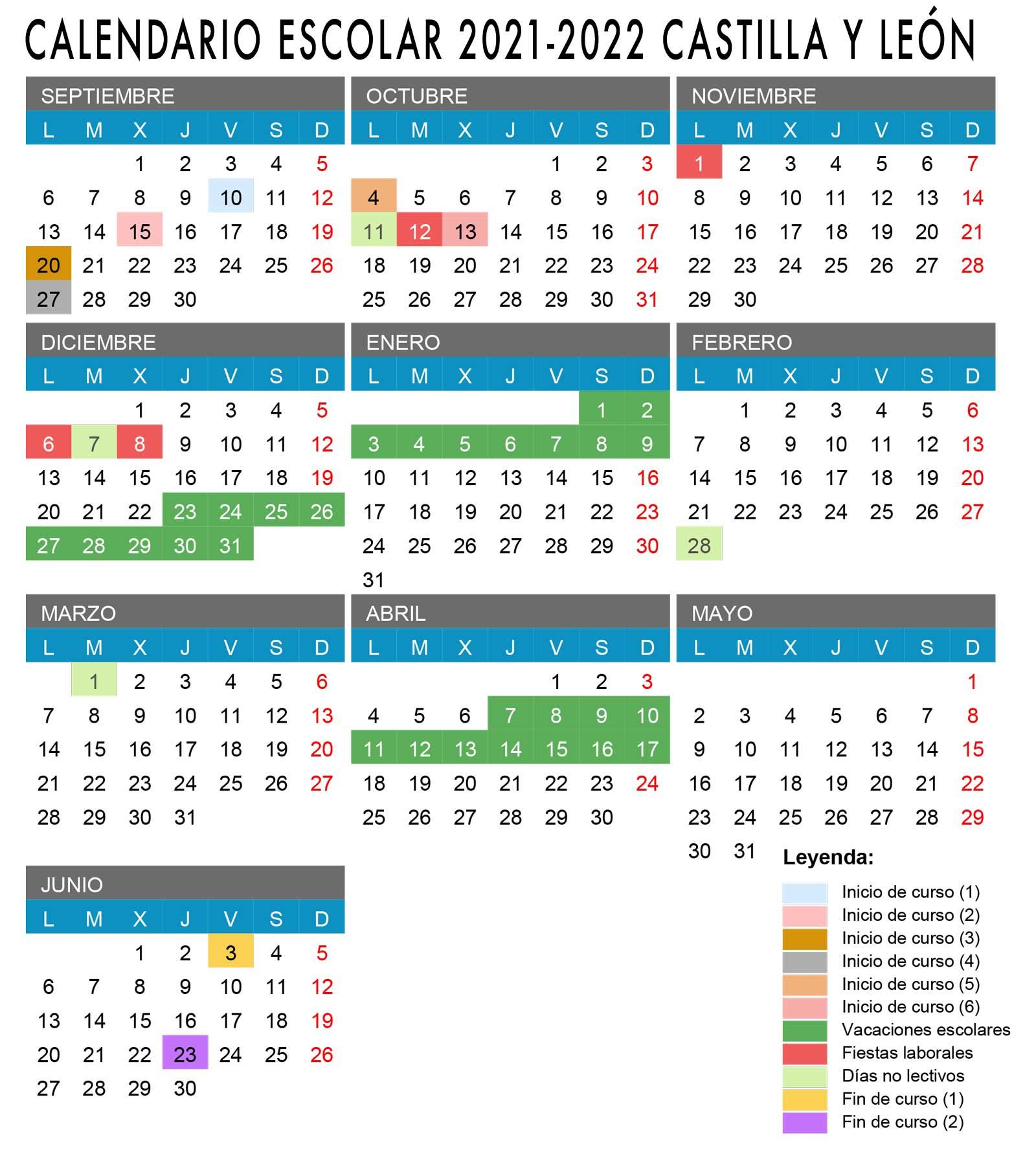 Calendario escolar de Castilla Y León 2021-2022