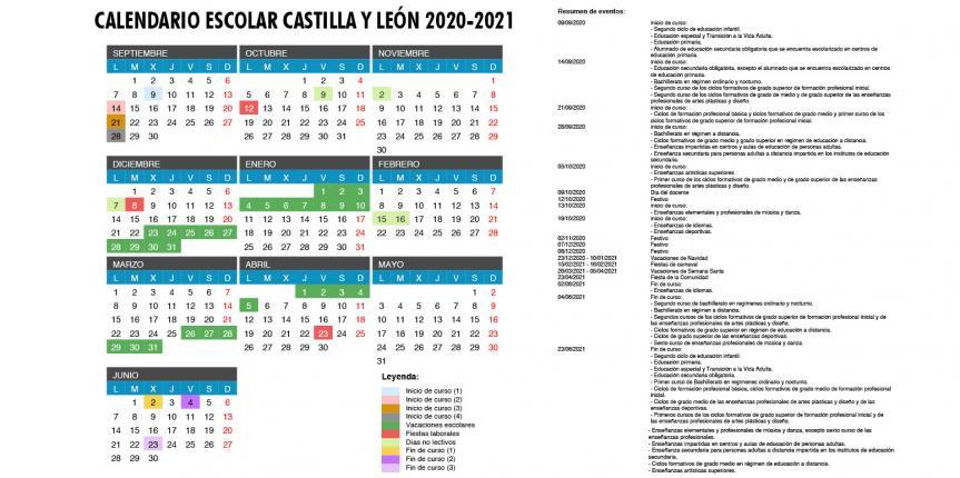Calendario escolar 2020-2021 en Castilla y León