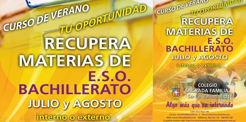 Ya está listo el Curso de verano 2018 del Colegio Sagrada Familia (Valladolid) para la recuperación de asignaturas de Secundaria y Bachillerato