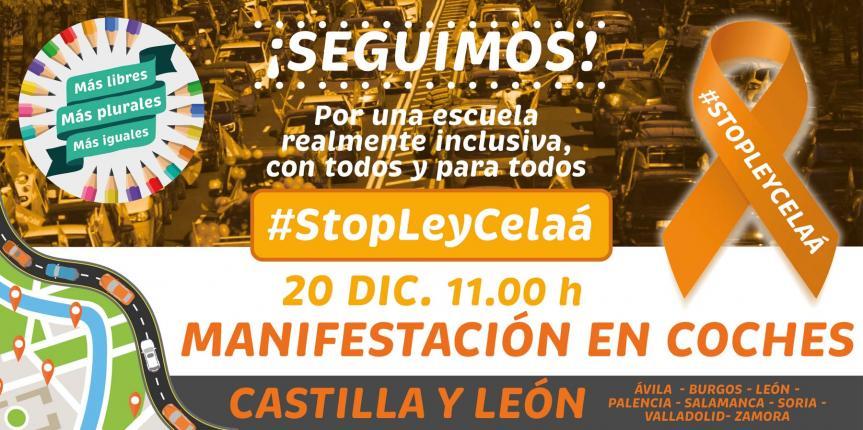 Manifiesto Más Plurales Castilla y León, manifestación en coches 20 diciembre 2020