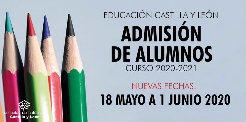 Nuevas fechas del proceso de admisión de alumnos para el curso 2020-2021 en Castilla y León